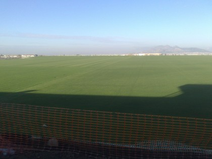Otra imagen de la terraza, que está elevada sobre los campos de césped