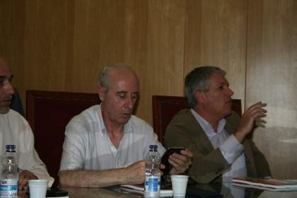 Intervención de Molina Maza, presidente de la Federación Granadina de Fútbol. Gerardo Girón junto a él