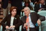 Sandra García, delegada del Gobierno de Andalucía, y Osvaldo Menéndez, secretario general de los periodistas deportivos de España