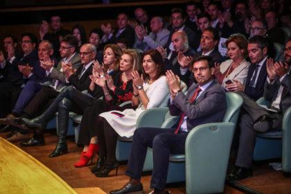 De derecha a izquierda, primera fila: Francisco Cuenca, María José Rienda, María José López, Poli Servián, Aurelio Sánchez, Jordi Mercadé, José Julián, Juan José Fernández y Víctor Romero.